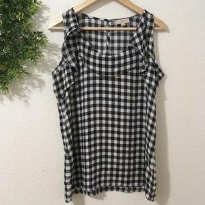 Loft Black/White Checkered Sleeveless Blouse